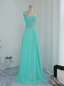 Free and Easy Beading and Appliques Graduation Dresses Turquoise Zipper Sleeveless Floor Length