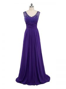 Suitable Purple Chiffon Side Zipper Graduation Dresses Sleeveless Floor Length Beading and Ruching