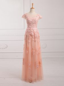 Latest Cap Sleeves Lace Up Floor Length Lace and Appliques and Belt Graduation Dresses