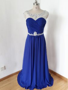 Fashionable Scoop Short Sleeves Graduation Dresses Floor Length Beading and Ruching Royal Blue Chiffon
