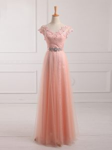 Traditional Peach Tulle and Lace Lace Up V-neck Short Sleeves Floor Length Graduation Dresses Beading and Lace and Appliques