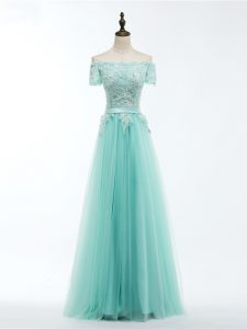Modern Apple Green Empire Lace and Appliques Graduation Dresses Lace Up Tulle Short Sleeves Floor Length