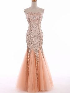 Peach Tulle Lace Up Sweetheart Sleeveless Floor Length Graduation Dresses Sequins