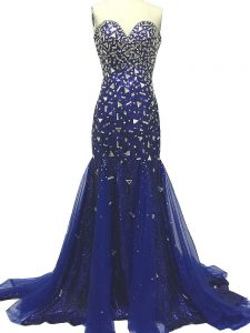 Colorful Sleeveless Tulle Brush Train Zipper Graduation Dresses in Royal Blue with Beading