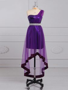 Purple Graduation Dresses Tulle and Sequined Sleeveless Beading
