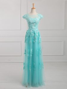 Aqua Blue Empire Beading and Lace and Appliques Graduation Dresses Lace Up Tulle Short Sleeves Floor Length