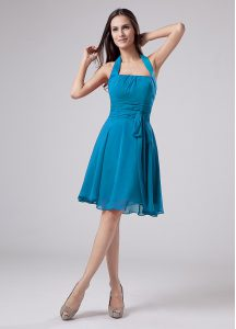 Suitable Teal Halter Top Neckline Belt Graduation Dresses Sleeveless Zipper