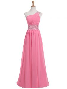 Beading and Ruching Graduation Dresses Rose Pink Backless Sleeveless Floor Length