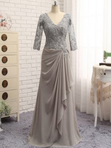 Superior Chiffon V-neck Long Sleeves Zipper Lace and Appliques Graduation Dresses in Grey