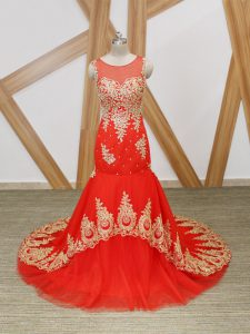 Mermaid Sleeveless Coral Red Graduation Dresses Brush Train Zipper