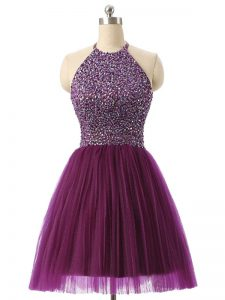 Nice Mini Length Dark Purple Graduation Dresses Halter Top Sleeveless Backless