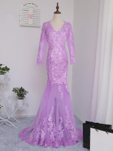 High End Lilac Long Sleeves Lace and Appliques Side Zipper Graduation Dresses