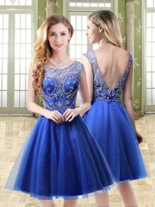 Sleeveless Mini Length Beading Backless Graduation Dresses with Royal Blue