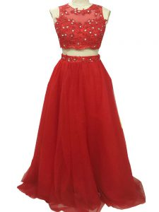 Decent Sleeveless Beading and Appliques Zipper Graduation Dresses with Red Sweep Train