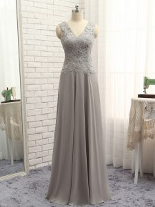 Popular Sleeveless Chiffon Floor Length Zipper Graduation Dresses in Grey with Lace and Appliques