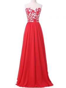 Chiffon Sleeveless Graduation Dresses and Lace and Appliques