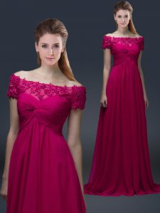 Low Price Off The Shoulder Short Sleeves Graduation Dresses Floor Length Appliques Fuchsia Chiffon