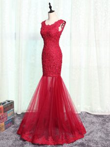 Tulle Scoop Sleeveless Zipper Lace and Appliques Graduation Dresses in Red