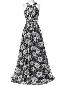 Empire Graduation Dresses Multi-color Halter Top Printed Sleeveless Floor Length Zipper
