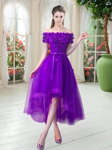 Purple Lace Up Off The Shoulder Appliques Graduation Dresses Tulle Short Sleeves