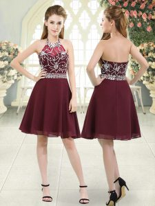 Lovely Sleeveless Knee Length Beading Zipper Graduation Dresses with Burgundy