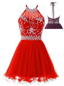 Exceptional Tulle Sleeveless Mini Length Graduation Dresses and Beading