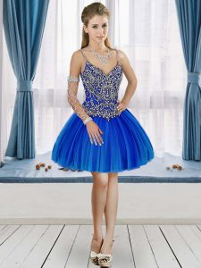 Luxury Sleeveless Mini Length Beading Lace Up Graduation Dresses with Royal Blue