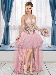 Admirable Pink Sleeveless High Low Appliques Lace Up Graduation Dresses Sweetheart