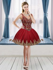Custom Designed Wine Red Ball Gowns Tulle V-neck Sleeveless Beading and Appliques Mini Length Lace Up Graduation Dresses