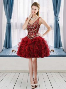 Wine Red Ball Gowns Tulle V-neck Sleeveless Beading and Ruffles Mini Length Lace Up Graduation Dresses