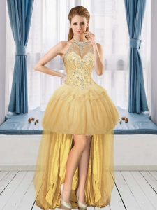 Exquisite Tulle Halter Top Sleeveless Lace Up Beading Graduation Dresses in Gold