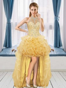 Fitting Sleeveless Tulle High Low Lace Up Graduation Dresses in Gold with Beading and Ruffles
