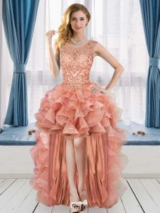 Peach Lace Up Graduation Dresses Beading and Ruffles Sleeveless High Low