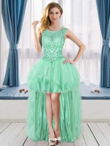 A-line Graduation Dresses Apple Green Scoop Tulle Sleeveless High Low Lace Up