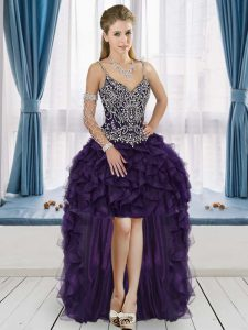 Dark Purple Sleeveless Beading and Ruffles High Low Graduation Dresses