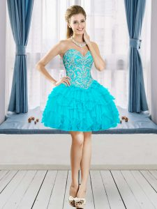 Tulle Sweetheart Sleeveless Lace Up Beading and Ruffles Graduation Dresses in Aqua Blue