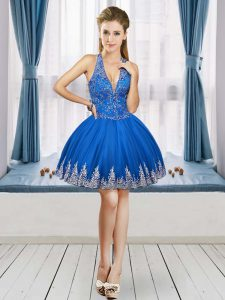 Tulle Sleeveless Mini Length Graduation Dresses and Beading and Appliques