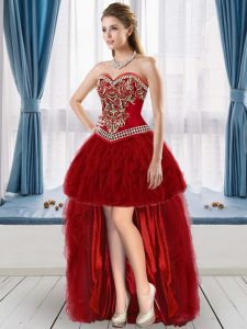 Attractive High Low Lace Up Graduation Dresses Wine Red for Prom and Party with Beading and Ruffles