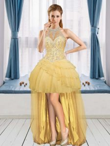 Gold Sleeveless High Low Beading and Ruffled Layers Lace Up Graduation Dresses Halter Top