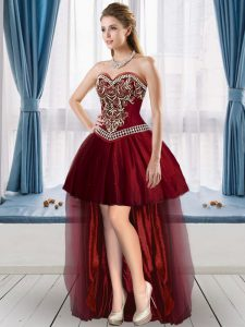 Burgundy A-line Sweetheart Sleeveless Tulle High Low Lace Up Beading Graduation Dresses