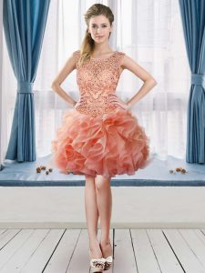 Charming Peach Scoop Neckline Beading and Ruffles Graduation Dresses Sleeveless Lace Up