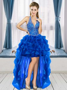 Customized Royal Blue Lace Up V-neck Beading and Ruffles Graduation Dresses Organza Sleeveless