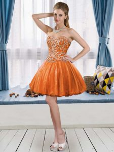 Flirting Orange Red Sweetheart Neckline Beading Graduation Dresses Sleeveless Lace Up