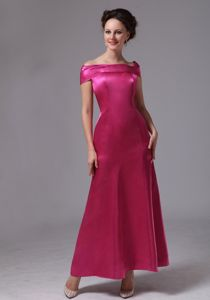 Off The Shoulder Ankle-length Hot Pink Graduation Ceremony Dress