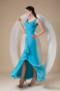 Teal Chiffon Ruched Middle School Graduation Dresses with Straps