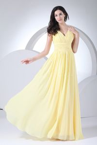 Clearance V-neck Ruched Light Yellow Long Graduation Dresses