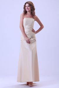 on Sale Strapless Lace-up Champagne Long Graduation Dresses