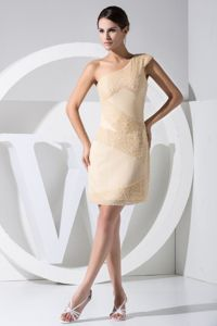 Classic One Shoulder Knee-length Champagne Graduation Dress