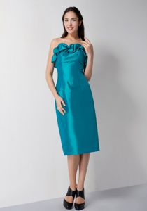 2014 Strapless Tea-length Graduation Dress for Juniors in Teal