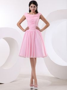 2013 Clearance Bateau Neck Baby Pink Short Graduation Dresses